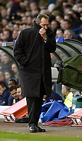 Photo. Jed Wee.<br /> Leeds United v Liverpool, FA Barclaycard Premiership, Elland Road, Liverpool. 29/02/2004.<br /> Liverpool manager Gerard Houllier braces himself for another week of high pressure.