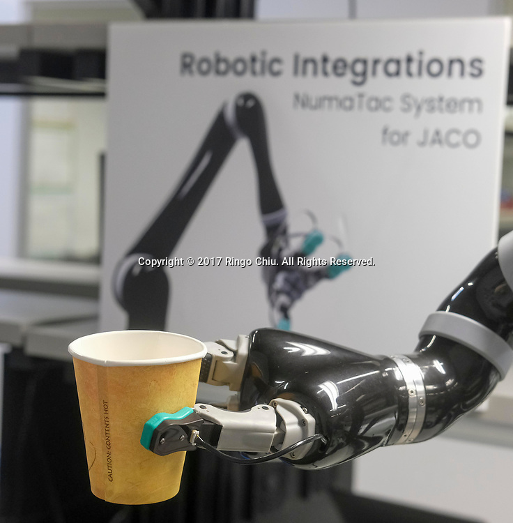 A model of robot fingers with material sample at SynTouch. (Photo by Ringo Chiu)<br /> <br /> Usage Notes: This content is intended for editorial use only. For other uses, additional clearances may be required.
