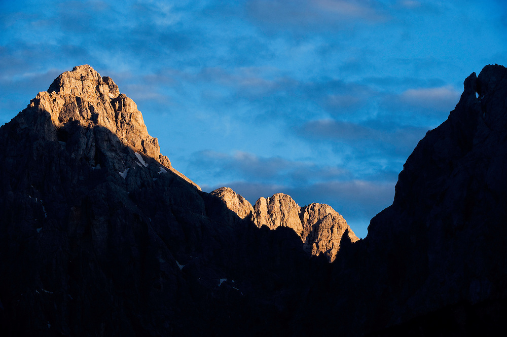 Mount Razor, view from Kranjska Gora<br /> Julian Alps<br /> Triglav National Park, Slovenia<br /> July 2009