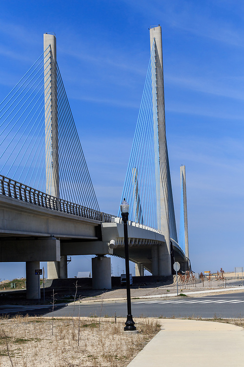 Rehoboth Beach, DE, USA - April 18, 2015: Delaware Indian River Bridge Pylon Towers give the cable-stayed bridge a distinctive appearance.