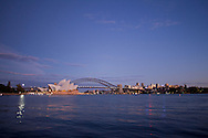 Sydney Opera House And The Sydeny Harbour Bridge Shot At Dawn.2011 Dextro Energy Triathlon ITU World Championship Sydney.Age Group Event.Sydney, New South Wales, Australia..Hosted By USM Events.Proudly Supported By Asics, Dextro, Suunto, Events New South Wales, Subaru, USM Events..10/04/2011.Photo Lucas Wroe