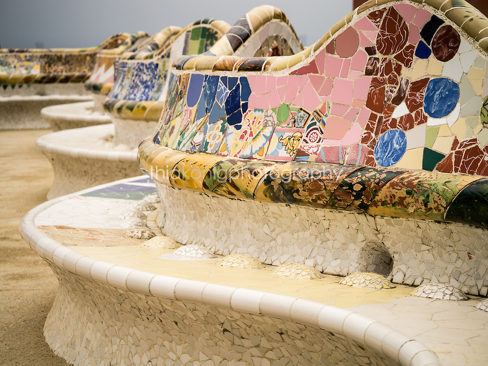 A detail of the mosaic bench at Park Guell, Barcelona, Spain.