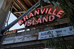 Neon sign, Granville Island, Granville, British Columbia, Canada