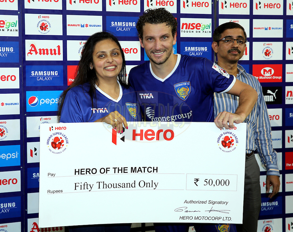 Elano Blumer of Chennaiyin FC recives Hero of the match award during the presentation of thed match 15 of the Hero Indian Super League between Chennaiyin FC and Mumbai City FC held at the Jawaharlal Nehru Stadium, Chennai, India on the 28th October 2014.<br /> <br /> Photo by:  Sandeep Shetty/ ISL/ SPORTZPICS