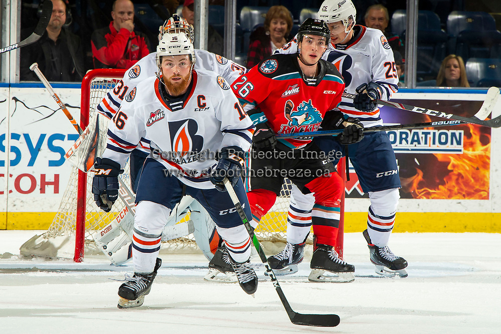 KELOWNA, BC - OCTOBER 12: Zane Franklin #16 of the Kamloops Blazers skates against the Kamloops Blazers at Prospera Place on October 12, 2019 in Kelowna, Canada. (Photo by Marissa Baecker/Shoot the Breeze)