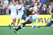 Newcastle Falcons Wing Vereniki Goneva (14) runs in to score a try and make the score 8-14 during the Aviva Premiership match between Newcastle Falcons and Leicester Tigers at Kingston Park, Newcastle, United Kingdom on 29 October 2017. Photo by Simon Davies.