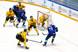 Andrej Hebar of Slovenia and Ziga Pance of Slovenia vs Nerijus Alisauskas of Lithuania and Mantas Armalis of Lithuania during ice hockey match between Slovenia and Lithuania at IIHF World Championship DIV. I Group A Kazakhstan 2019, on May 5, 2019 in Barys Arena, Nur-Sultan, Kazakhstan. Photo by Matic Klansek Velej / Sportida