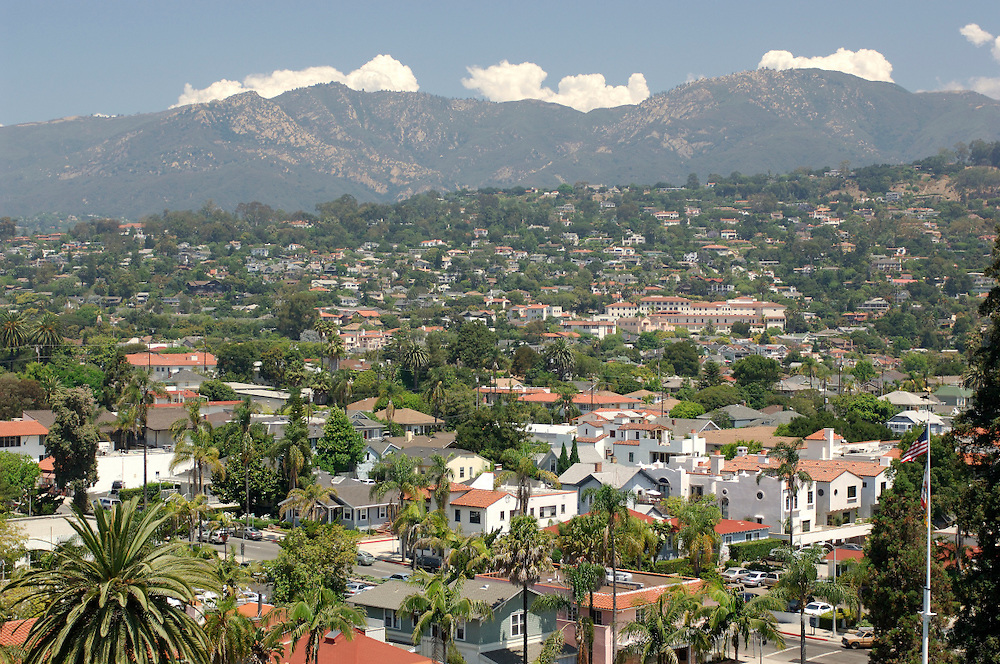 view over Downtown, Santa Barbara, California, United States of America