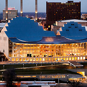 Aerial photography of Kauffman Center for the Performing Arts in downtown Kansas City, Missouri - designed by architect Moshe Safdie.