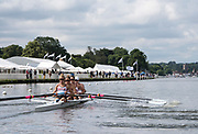 Henley-on-Thames. United Kingdom.  2017 Henley Royal Regatta, Henley Reach, River Thames. <br /> Women's Four. New York Athletic Club. Bow Olivia COFFEY, Kerry SIMMONDS Susan FRANCIA and Felice MUELLER<br /> 10:36:03  Friday  30/06/2017<br /> <br /> [Mandatory Credit. Intersport Images}.