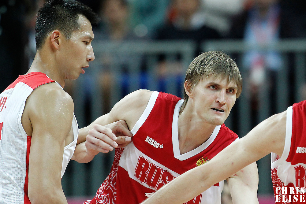 31 July 2012: Russia Andrei Kirilenko is seen on defense against China Jianlian Yi during the 73-54 Russia victory over China, during the men's basketball preliminary, at the Basketball Arena, in London, Great Britain.