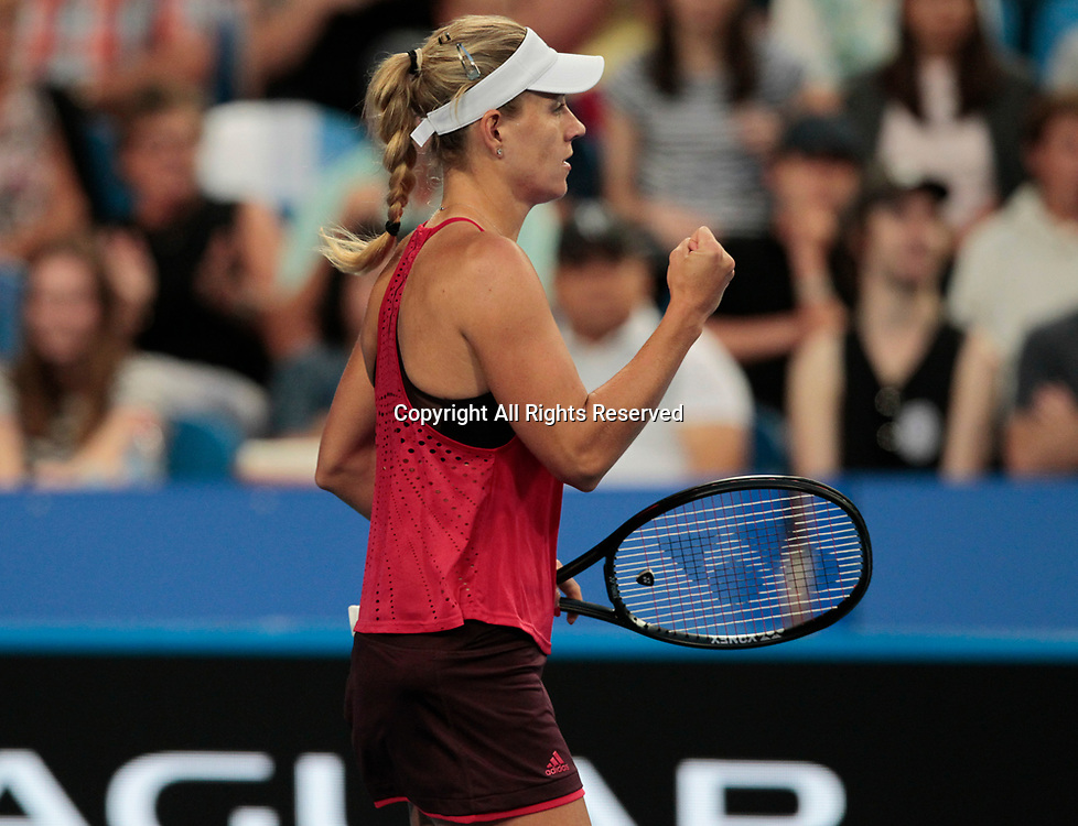 6th January 2018, Perth Arena, Perth, Australia; MasterCard Hopman Cup Tennis Final; Angelique Kerber of Team Germany wins the Final against Belinda Bencic of Team Switzerland 2 sets to 0