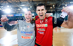 Jure Vran of Slovan  and Janko Bozovic of Slovan celebrate after the the 1/ 8 Men's European Handball Challenge Cup match between RD Slovan, Slovenia and Ystads IF, Sweden, on February 21, 2009 in Arena Kodeljevo, Ljubljana, Slovenia. Slovan defeated Ystads 37-27 and qualified to quarterfinals. (Photo by Vid Ponikvar / Sportida)