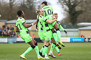 Forest Green Rovers Reece Brown(10) scores a goal 1-0 and celebrates during the EFL Sky Bet League 2 match between Forest Green Rovers and Lincoln City at the New Lawn, Forest Green, United Kingdom on 2 March 2019.