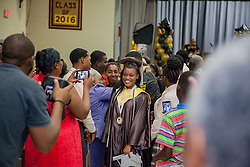 Natifah Todman walks out of the auditorium as a graduate.  St. Thomas/St. John Seventh Day Adventist School Commencement Service.  Bertha C. Boschulte Auditorium.  St. Thomas, USVI.  12 June 2016.  © Aisha-Zakiya Boyd
