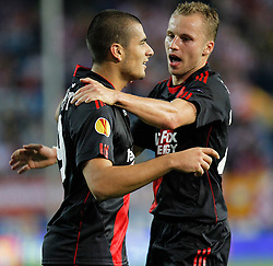 30.09.2010, Vicente Calderon Stadion, Madrid, UEFA EL, Atletico de Madrid vs Bayer 04 Leverkusen, im Bild Bayer Leverkusen's  Eren Derdiyok  first goal and Michal Kadlec during UEFA Europe League. EXPA Pictures © 2010, PhotoCredit: EXPA/ Alterphotos/ Cesar Cebolla +++++ ATTENTION - OUT OF SPAIN / ESP +++++