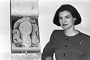 Paloma Picasso with her father Pablo Picasso's painting at Tate Gallery, London