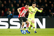 PSV player Hirving Lozano (l) and Barcelona player Clement Lenglet (r) during the UEFA Champions League, Group B football match between PSV Eindhoven and FC Barcelona on November 28, 2018 at Philips Stadium in Eindhoven, Netherlands - Photo Joep Leenen / Pro Shots / ProSportsImages / DPPI
