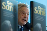 11 APR 2012, BERLIN/GERMANY:<br /> George Soros, Investor, stellt sein neues Buch vor, Projektzentrum Berlin der Stiftung Mercator<br /> IMAGE: 20120411-02-015