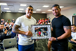 Siale Piutau thanks Tusi Pisi as the Bristol Bears squad gather to make presentations to departing players after the Bristol Bears Team Run ahead of the Sale Sharks Game - Rogan/JMP - 02/05/2019 - RUGBY UNION - Ashton Gate Stadium - Bristol, England - Bristol Bears v Sale Sharks - Gallagher Premiership Rugby.