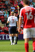 Bolton Wanderers defender Dean Moxley (3) is shown a yellow card, booked during the EFL Sky Bet Championship match between Charlton Athletic and Bolton Wanderers at The Valley, London, England on 27 August 2016. Photo by Matthew Redman.