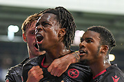 Reading midfielder (on loan from Liverpool) Ovie Ejaria (14)  scores a goal and celebrates 0-1 during the EFL Sky Bet Championship match between West Bromwich Albion and Reading at The Hawthorns, West Bromwich, England on 21 August 2019.
