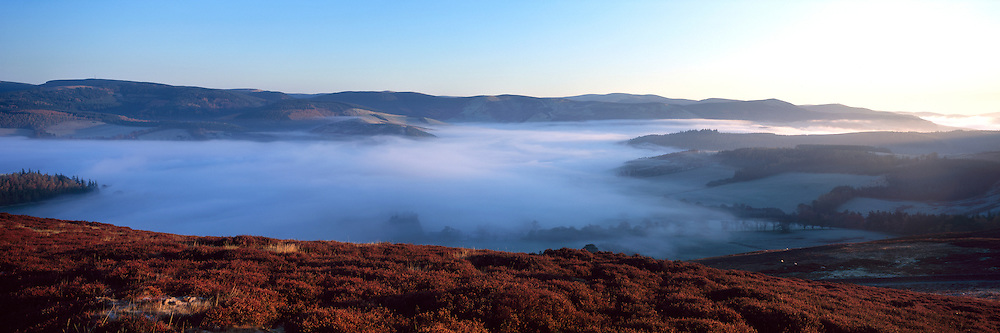 Early morning autumnal mist over the Tweed Valley in the Scottish Borders, taken from the Drovers Road above Peebles