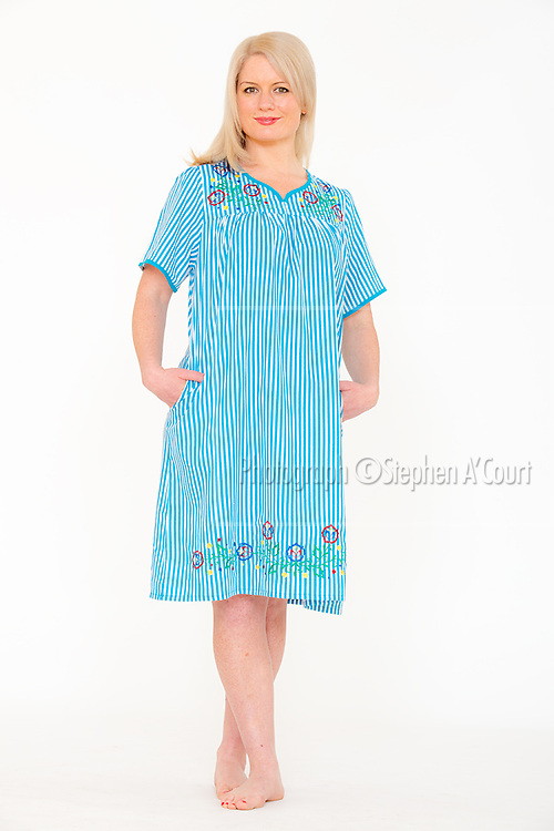 Stripe Embroidered Dress Blue. Photo credit: Stephen A'Court.  COPYRIGHT ©Stephen A'Court