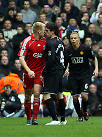 Photo: Mark Stephenson/Sportsbeat Images.<br /> Liverpool v Manchester United. The FA Barclays Premiership. 16/12/2007.John Arne Riise (L) has words with Owen Hargreaves