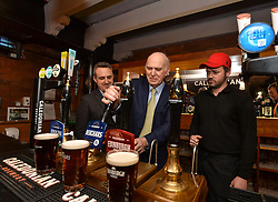 Pictured: Vince Cable pours pints with Alex Cole Hamilton, MSP for Edinburgh West and Caledonian Brewery's Kevin Russell.<br /> <br /> Liberal Democrat leader Vince Cable MP chose a visit to a micro brewery in Edinburgh to deliver an ultimatum to the SNP, to fight to find a way for the whole UK to stay in the EU.<br /> <br /> &copy; Dave Johnston / EEm