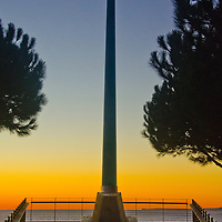 "Public art work entitled, ""The Beacon? by artist Jody Pinto amid tonight's sunset at Palisades Park. (Thursday, December 20, 2012)"