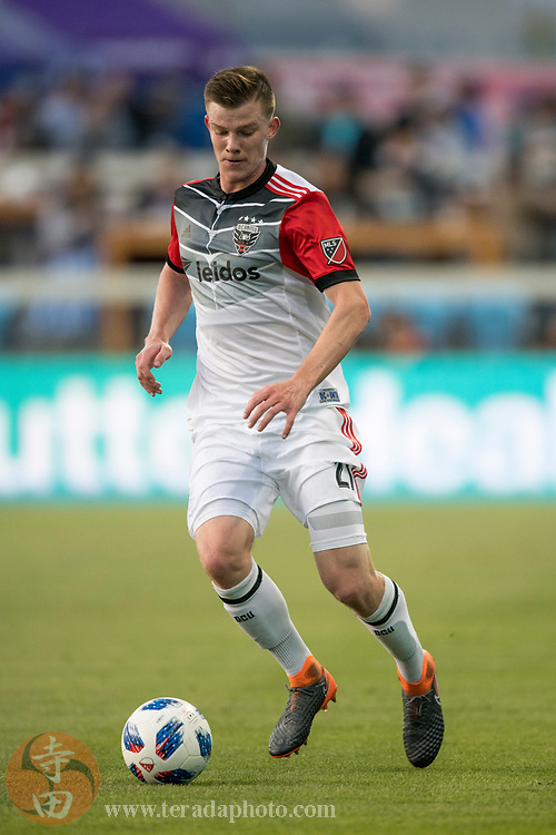 May 19, 2018; San Jose, CA, USA; D.C. United midfielder Chris Durkin (21) during the first half against the San Jose Earthquakes at Avaya Stadium.