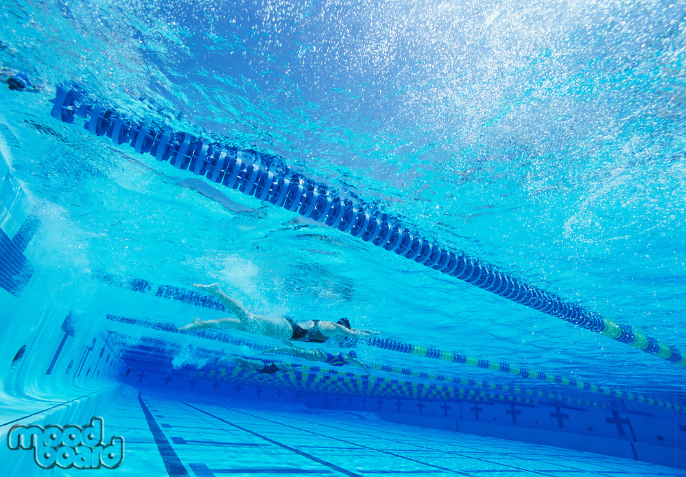 Swimmers racing together in swimming pool
