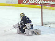 Notre Dame goaltender Mike Johnson watches the puck go into the net during first period of Friday's game against Lake Superior State in Sault Ste. Marie.