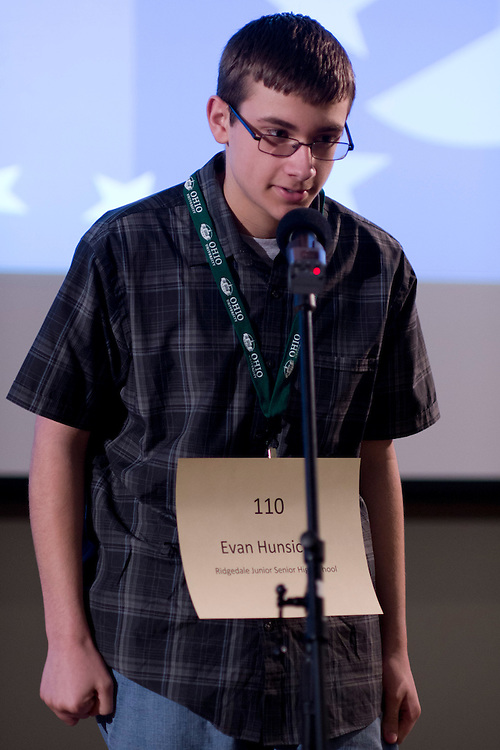 Evan Hunsicker of Ridgedale Junior Senior High School introduces himself during the Southeastern Ohio Regional Spelling Bee Regional Saturday, March 16, 2013. The Regional Spelling Bee was sponsored by Ohio University's Scripps College of Communication and held in Margaret M. Walter Hall on OU's main campus.