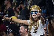 An LAFC fan cheers during an MLS soccer game between the LAFC and the Toronto FC. LAFC and Toronto FC tied 1-1 on Saturday, Sept 21, 2019, in Los Angeles. (Ed Ruvalcaba/Image of Sport)