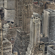 A look at the sea of older highrises in Midtown Manhattan from the observation deck at the Empire State Building