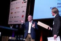 UTRECHT -  Directeur Lodewijk Klootwijk met spreker Paul Armitage tijdens  het NVG congres met als thema 'vinden& binden'. COPYRIGHT KOEN SUYK