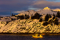 A fishing boat sails near the snowy coastline in winter of Austvagoya Island, near Henningsvaer, Lofoten Islands, Norway.