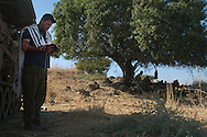 "IDF artillery conservative soldier during his morning prayer - ""shacharit"" the morning of the cease-fire.<br />