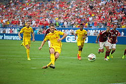 CHARLOTTE, USA - Saturday, August 2, 2014: Liverpool's Rickie Lambert misses a penalty against AC Milan during the International Champions Cup Group B match at the Bank of America Stadium on day thirteen of the club's USA Tour. (Pic by David Rawcliffe/Propaganda)