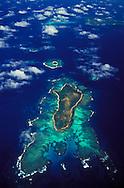 Aerial view of islands in the Ha'apai group of islands. Tonga