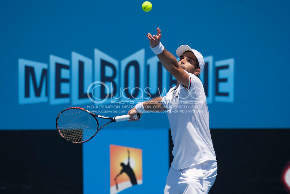Pablo Andujar (ESP). 2012 Australian Open Tennis. Mens Singles. Second Round. Court 6, Melbourne and Olympic Parks, Melbourne, Victoria, Australia. 19/01/2012. Photo By Lucas Wroe