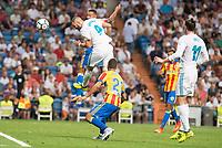 Real Madrid's Karim Benzema and Gareth Bale and Valencia's Martin Montoya during La Liga match between Real Madrid and Valencia CF at Santiago Bernabeu Stadium in Madrid, Spain August 27, 2017. (ALTERPHOTOS/Borja B.Hojas)