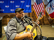 30 APRIL 2019 - CEDAR RAPIDS, IOWA: KEVIN BURT, a member of the Iowa Blues Hall of Fame, performs before a campaign rally for Joe Biden. Biden, who was Vice President for 8 years, emerged as the Democratic front runner shortly after declaring his candidacy. He kicked off his Iowa campaign in Cedar Rapids, and is visiting Dubuque, Iowa City and Des Moines in the next two days. Iowa traditionally hosts the the first selection event of the presidential election cycle. The Iowa Caucuses will be on Feb. 3, 2020.                     PHOTO BY JACK KURTZ