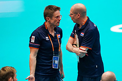 11-08-2019 NED: FIVB Tokyo Volleyball Qualification 2019 / Netherlands - USA, Rotterdam<br /> Final match pool B in hall Ahoy between Netherlands vs. United States (1-3) and Olympic ticket  for USA / Ass. coach Max Giaccardi of Netherlands, Coach Roberto Piazza of Netherlands