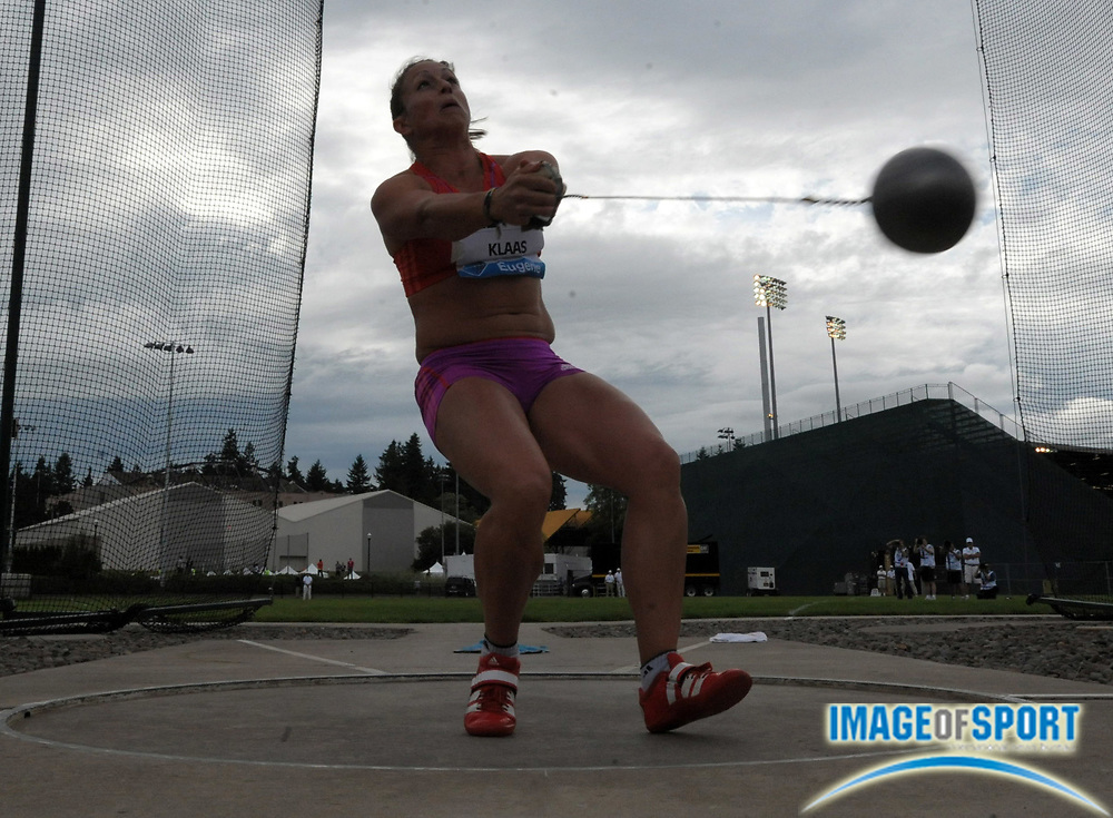 Jun 1, 2012; Eugene, OR, USA; Kathrin Klaas (GER) competes in the womens hammer throw in the 2012 Prefontaine Classic at Hayward Field.