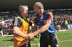 Mayo's joint manager Noel Connelly and Galway manager Kevin Walsh shake hands at the final whistle in Pearse Stadium after the Connacht Championship semi-final.<br /> Pic Conor McKeown