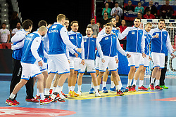 Slovenian players during handball match between National teams of Slovenia and Montenegro on Day 5 in Preliminary Round of Men's EHF EURO 2018, on January 17, 2018 in Arena Zagreb, Zagreb, Croatia. Photo by Ziga Zupan / Sportida