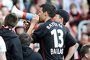 Michael Ballack gets the fans going.